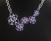 Garden Party Reversible Asymmetrical flower Chainmaille Necklace/ Chainmail Necklace/ Chain Mail Necklace