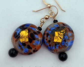 Handmade Multicolor Gold Foil Glass and Black Onyx Earrings on Gold Filled Ear Wires