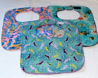 Bibs for Babies and Toddlers -  Baby Shower Gift - Large Bibs -  Set of Three Bibs -  Unisex