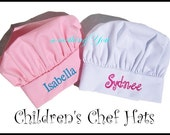Childrens Personalized Chef Hat with Name - Girls Chef Hats, Boys Chef Hats, Kids Chef Hats, Custom Chef Hats for Birthday parties