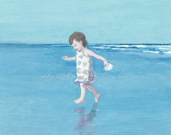 Beach print little girl running on the beach, young child, seashore, ocean, seashell, shore, toddler, seaside art, children, blue, paintings