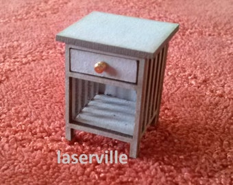 Dollshouse miniature Half scale ( 1:24,1/2 inch) bedsite table/night stand.