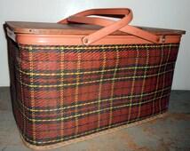 Vintage Basket, Picnic Basket, Redmon, Plaid, Reddish Brown, Gold, Black,  Sewing Basket, Large, Rectangle, Storage Basket