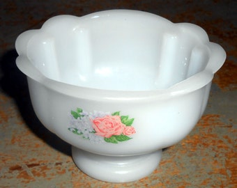Vintage Compote,  Avon, Milk Glass, Floral, Pink, Roses, Shabby, White, Small, Candy Dish, Collectibles