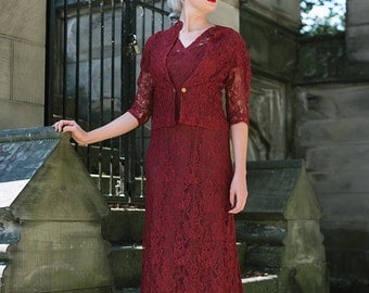 Vintage 1930s 2 piece Maroon Lace Gown with Slip and Jacket