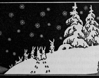 Bold Rabbit  - Vintage Art, Story Book Art, Family Art, Children's Art