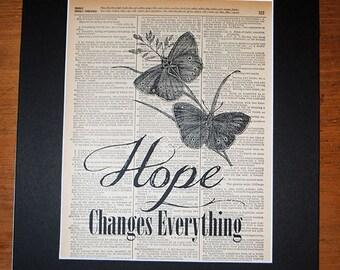 Hope Changes Everything - Vintage Word Art