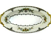 Vintage Noritake Porcelain Relish Dish Apollo Pattern Art Deco Oval Condiment Dish Serving Bowl Swag Wreath