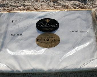 Twin Flat Bed Sheet Vintage Unused White Cotton Original Packaging Mid Century Bedding NOS