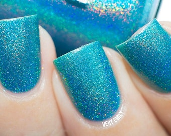 Holographic - Teal Me the Truth:  Custom-Blended Glitter Nail Polish / Indie Lacquer / Polish Me Silly