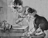 "Dog and Little Girl Print - ""Brush Your Teeth"" - 1920s  Restored Antique Print - GREAT Dentist Gift - GREAT Bath Print"