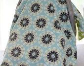 Car Seat Canopy - Navy Blue, Lime Green and Aqua Medallion