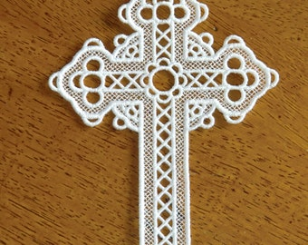 Embroidered Bookmark  - Cross - White