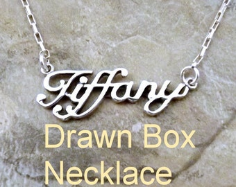 Sterling Silver Name *Tiffany* in your Length and Choice of Sterling Silver Necklace Chain Style - 0840