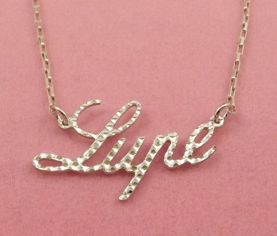 sterling silver diamond cut name necklace lupe on sterling. Black Bedroom Furniture Sets. Home Design Ideas