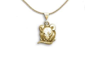 14K Gold Mouse Pendant