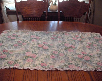 Cottage Style Shabby Chic Table Cloth OOAK