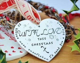 Personalised christmas tree heart ornament decoration hand stamped