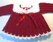 Baby girl Valentines day dress red and white crochet long sleeves layette