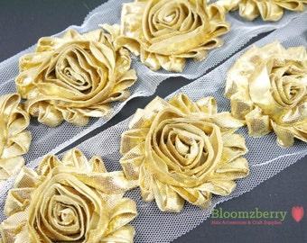 "2.5"" Shabby Rose Trim-  Shiny/Metallic Gold Color- Chiffon Trim - Shabby Trim - Gold Shabby Rose Trim - Hair Accessories Supplies"