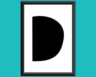 Typography DIGITAL PRINT Monogram Initial Wall Art Sybil Letter D 5x7