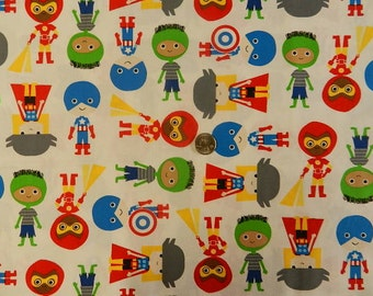 Super Heroes on white - Fabric By The Yard