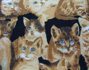 Realistic Cat Fabric Kitty Crowd Retired Out of Print FQ