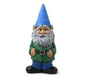 Classic Ceramic Garden Gnome - 15.5 inches, hand painted lawn or garden gnome, outdoor or indoor