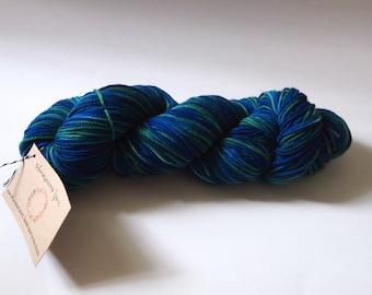 "Wildflower Hand-Dyed Yarn in ""Another New World"" - Superwash Merino Sport Yarn, blue yarn, green yarn, variegated yarn"