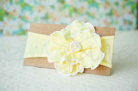 Ema Jane - Shabby Chic Headband (Sunshine Yellow Rosette on Sunshine Yellow)