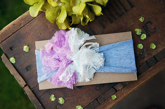 Ema Jane - Shabby Chic Headband (Lavender and White Lace on Light Gray)