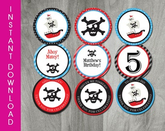 Pirate Party, INSTANT DOWNLOAD, Self Editable Pirate Birthday Cupcake Topper, Party Printable, Personalize, Tag, Digital PDF File, Boy Party