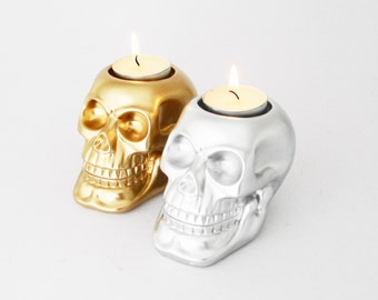 Brushes Mac Tealight Holder Skull Candle Decor Gold Human Gift Make Up