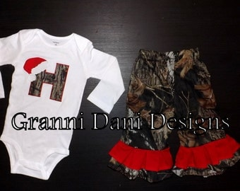 Mossy oak camo personalized pant oneise shirt set red christmas holiday santa 0 3 6 9 12 18 24 months 2T 3T 4T 5T red white c