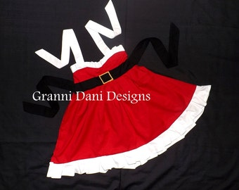 Santa Christmas Holiday halter dress baby toddler girl 6 9 12 18 24 months 2t 3t 4t 5t red black gold photos