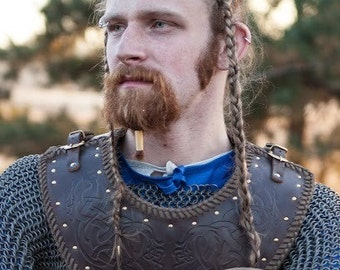 Medieval Men's Leather Gorget with Viking Embossing
