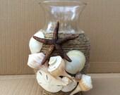 Flower Vase wrapped in Natural Jute, Natural Seashells, Sanddollar, Starfish