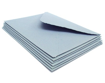 Light blue envelopes, handmade recycled paper, A2 size, set of 10