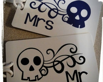 Set of 2 Mr Mrs Luggage Tags Personalized Skull Theme Wedding Gift
