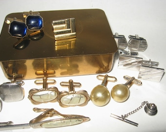 DECO Vintage Modernist CUFFLINKS LOT Gold Silver Abstract Blue Lucite Swank Moonglow Pearl Set Tie  Money Clip Brass Jewelry Cuff Links Box