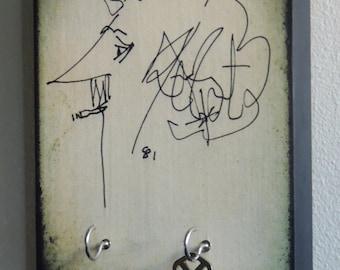 """Key Holder VONNEGUT. Kurt Vonnegut Wall Art & Wood Mounted Key Holder. Breakfast of Champions Slaughterhouse Five. 5.5"""" X 8"""""""