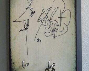 "SALE TODAY Only Key Holder VONNEGUT Kurt Vonnegut Wall Art & Wood Mounted Key Holder. Breakfast of Champions Slaughterhouse Five. 5.5"" X 8"""