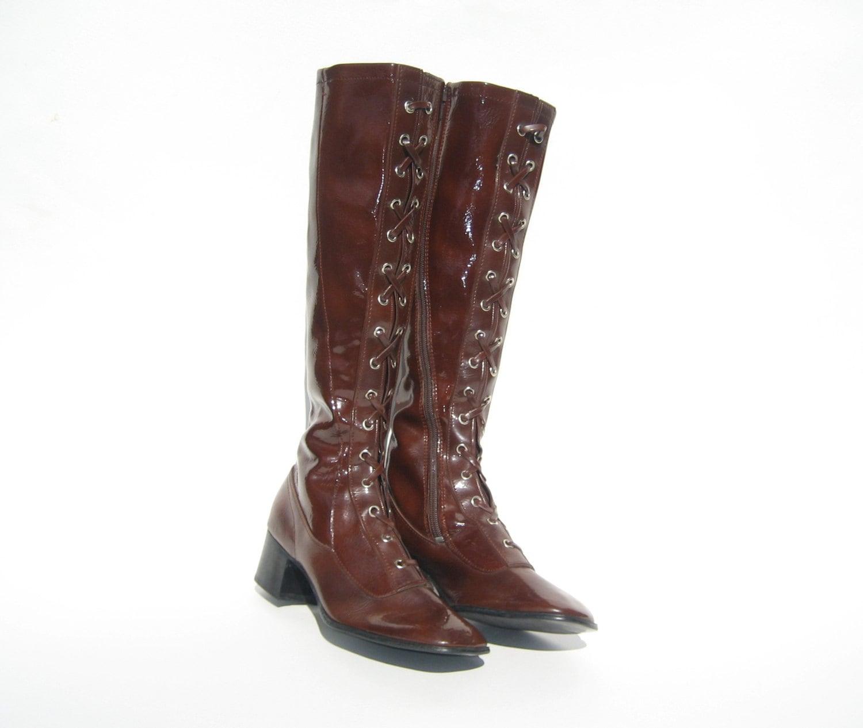 vintage go go boots 1960s mint brown vinyl lace up go go