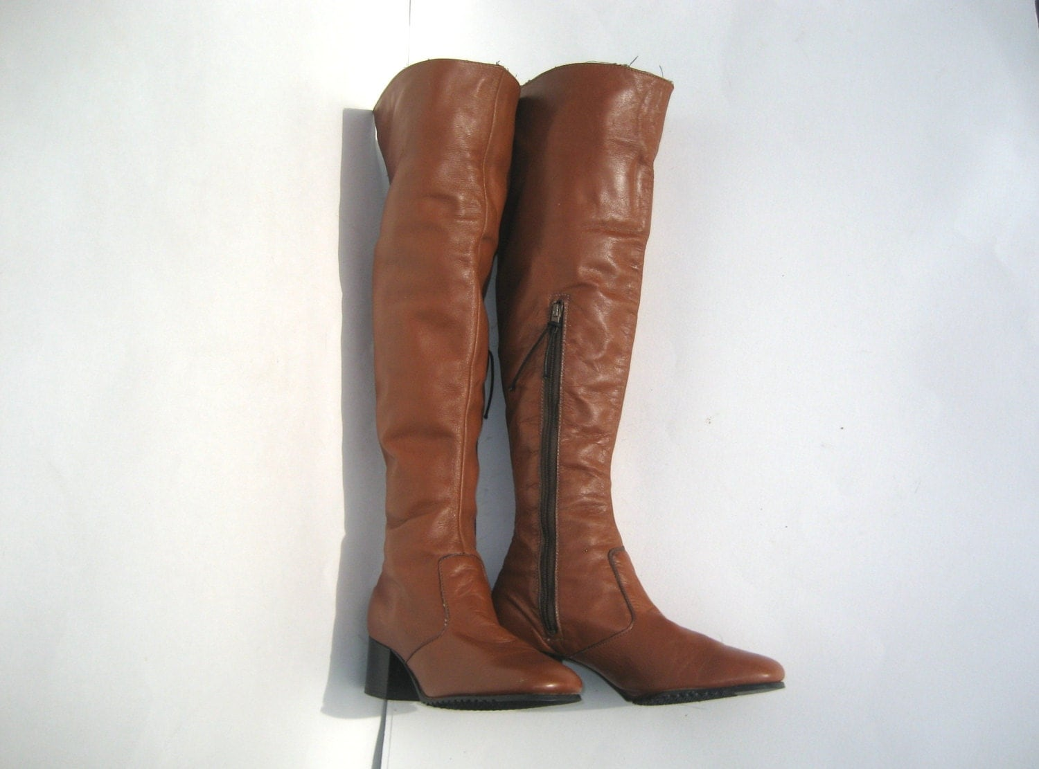 1960s brown leather the knee boots vintage go go boots