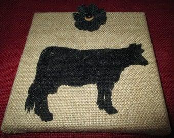 Primitve, Rustic, Cow, Burlap, wall hanging, Picture