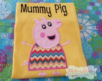 Peppa Pig Family - Mummy Pig Embroidered Birthday Shirt - Customizable -   Adults 311