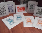RESERVED FOR SHERANY: Multi-pack Original Beetle, Frog, Snail and Anteater Linocut Block Print Card Set -- Signed by Artist