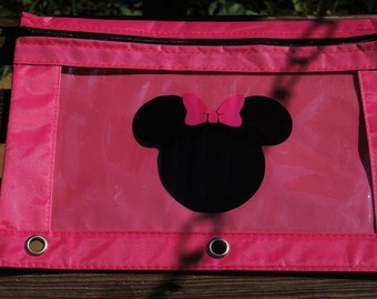 Hot Pink Pencil Bag with Minnie Mouse Persaonlized Great for School
