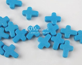 Chalk turquoise cross charm, small turquoise charm, cross, blue cross, 11mm x 9mm, 4pc