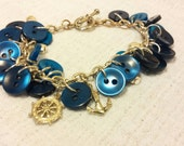 Repurposed Upcycled Button Bracelet with Navy Blue and Nautical Charms